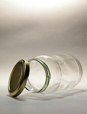 112 x 16oz (1lb) ROUND GLASS JAM JAR  & GOLD LIDS - PICKLES, PRESERVES, +++++