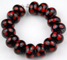 Lampwork Glass Beads Handmade Black Red Polka Dot Rondelle Loose Craft Spacer