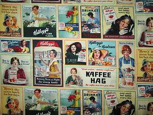 Vintage Kelloggs Cereals Coffee Patch Cream Cotton Fabric FQ