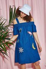 Vestido de verano el WHITEPEPPER Bardot del hombro Azul Denim Hipster M #7R386