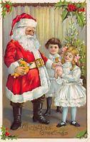 Christmas Postcard Santa Claus Giving Children Toys Dolls Tree~123049