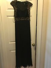 Tadashi Collection sz 8 long black sequined dress gown 100% silk formal