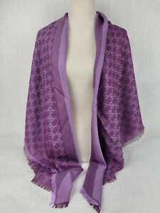 Gucci Violet GG Wool Silk Large Square Scarf Shawl 281942 5372