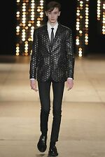 SAINT LAURENT PARIS Black Studded Leather Runway Blazer Jacket sz 50 40