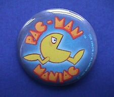 BUY1&GET1@50%~Hallmark PIN BUTTON-Rare PAC MAN MANIAC Vintage Midway Pinback