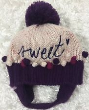55357127e18 Target Infant Knit Hat Purple Pink Embroidered Sweet Pom Poms Plus Chin  Strap