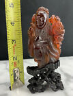 Rare Qing Dynasty Hand Carved Figure Of Natural Honey Amber Immortal & Wood Base