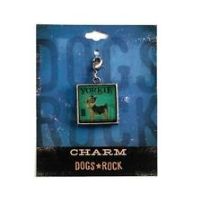 Dogs Rock Yorkie Dog Charm with Lobster Clasp - Double-Sided