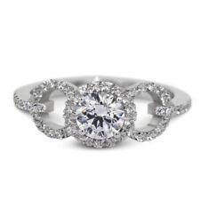 Anillos de joyería con diamantes blancos brillantes de oro blanco