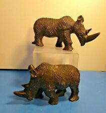 2 Vintage Black Rhinoceros Plaster Sculpture Figurines Home Decor Collectible