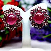 NATURAL 11 X 12 mm. OVAL WITH ROUND RED RUBY EARRINGS 925 STERLING SILVER