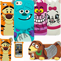 Cartoon Silicone Rubber 3D Case For Apple iPhone 4/4S 5/5S Samsung Galaxy 5 4 &3