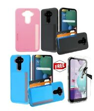 New Slim 3 Card Holder Rubber Protective Hybrid Case Cover For LG Aristo 5+GLASS