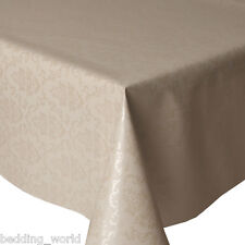 PVC TABLE CLOTH REGENCY OFF WHITE DAMASK FLORAL IVORY VINYL WIPE ABLE PROTECTOR