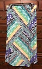 Chico's Majsetic Blue Bandanarama Tori Midi Skirt Size 1 (8/10) NWT