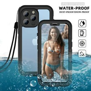 For iPhone 12,13 Pro Max,13 Mini Waterproof Case Cover Built-in Screen Protector