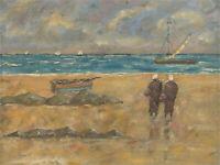 Mid 20th Century Oil - Figures on the Beach