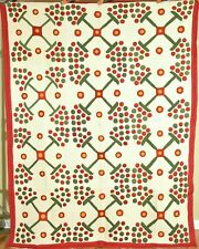Outstanding Vintage Red, Green & Cheddar Applique Quilt ~Unusual Berry Design!