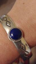 Santo Domingo Deep Blue Lapis Bracelet Sterling Silver Cuff Bracelet Signed