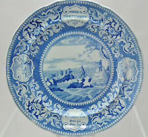 Wood Landing of the Fathers Blue Transfer Historical Staffordshire Plate 1820