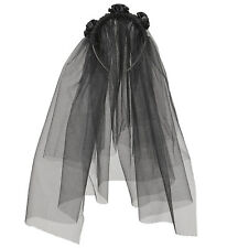BLACK WIDOW VEIL TULLE HALLOWEEN BRIDE FANCY DRESS ACCESSORY
