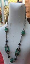 & Silver Plated Necklace Original 1930's' Czech Green Glass