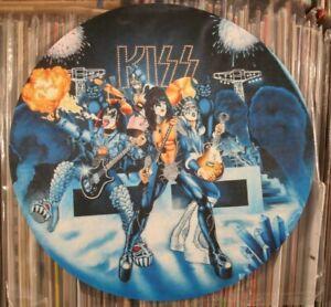 """KISS  ~ Cobalt Blue Pinball Machine Mural ~ Full Color 12"""" LP Turntable Mat"""