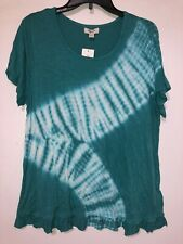 Women Blouse Style & Co Teal Tie Dye Scoop Neck Short Sleeve Regular Size L NWT