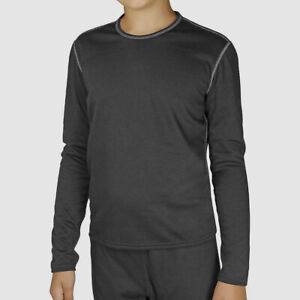 $55 Hot Chillys Youth Black Bi-Ply Crew-Neck Long Sleeve T-Shirt Size L