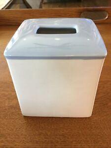 "Kate Spade TIVERTON Ceramic TISSUE Box Cover! Blue & White 6"" Kleenex"