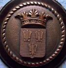 Old Heavy Solid Bronze French Navy Bulkhead Crest Tompion Tampion 3 Butterflies