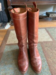 Brown Leather Custom Made Riding Fox Hunting Field Boot 9 USA Made In Spain