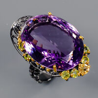 Amethyst Ring Silver 925 Sterling 37 ct+ IF 25x18 mm. Size 8 /R141701