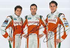 Fisichella, Liuzzi, Sutil Hand Signed 12x8 Photo Force India F1.