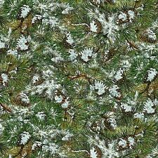 Winter Stillness Forest Snowy  Pine Boughs pinecones  By The yard Flannel