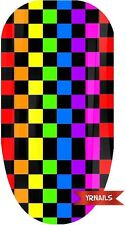 Nail WRAPS Nail Art Water Transfers Decals - Multi Colour Check - W006