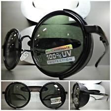 VINTAGE RETRO STEAMPUNK CYBER Round Blinder SUN GLASSES Black Frame - Green Lens