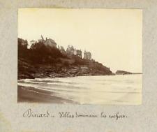 France, Dinard, Villas dominant les rochers  Vintage print.  Tirage platine