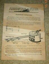 Original AMERICAN FLYER Transformer Instructions for Model 7