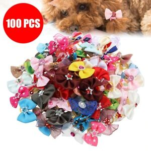 100Pcs Dog Hair Bows Dog Topknot Multicolored Bows Pet Puppy Hair Bows
