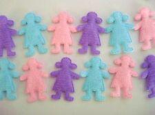 60 Padded Felt Little Girl Applique/kid motif/sewing trim/Craft/Pink/Blue H340