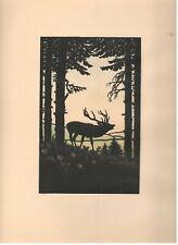 """Original-Scherenschnitt """"Hirsch im Wald"""" mit dezent coloriertem Hintergrund"""