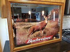 """Rare Budweiser Anheuser-Busch Whitetail Deer Mirror Sign 36"""" x 27 Hunting 1998"""