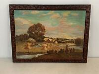 Vintage Possibly Antique J. Abrams Signed Farm Landscape Oil Painting on Board
