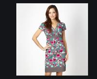 NEW RRP £33 Ex   Debenhams Mantaray Grey woven tulip print Dress          (SS60)