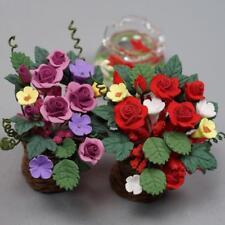 Doll House Miniature RedPurple Rose Flowers in Clay Pot Plant Garden Decor 112:
