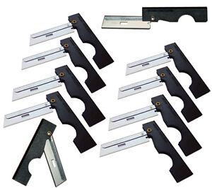 Derma Safe Folding Razor Knife 10 pack Black for SERE Survival Tool Kit Blade