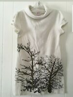FUNKY PEOPLES WOMAN SMALL DRESS WHITE BROWN TREES COWL NECK SWEATER