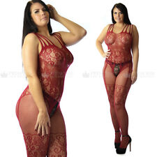 UK size 12-26 Plus+ Curvy Women's Lingerie Lace fishnet Body Stocking Nightwear