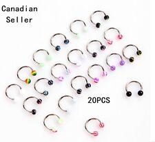 20pcs U Taper Horseshoe Stainless Steel Stud Ear Nose Nipple Eyebrow Lip Rings